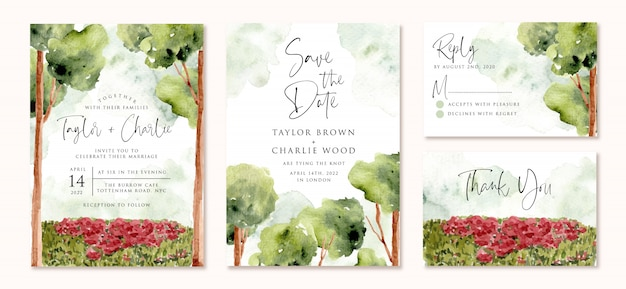 Wedding invitation set with trees and garden landscape watercolor