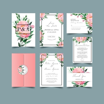 Wedding Invitation set with watercolor floral