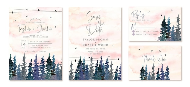 Wedding invitation set with watercolor pine trees
