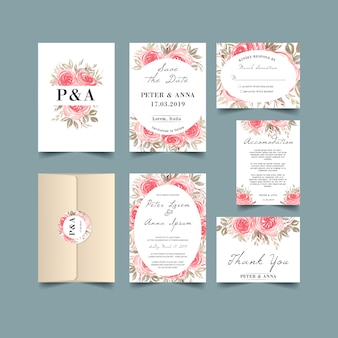 Wedding invitation set with watercolor rose pink vintage