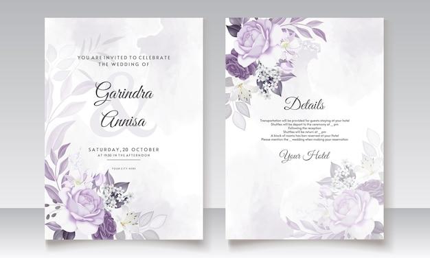 Свадебные приглашения с белыми и фиолетовыми цветочными листьями акварель