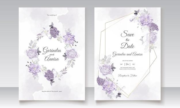 白と紫の花の葉の水彩画で設定された結婚式の招待状