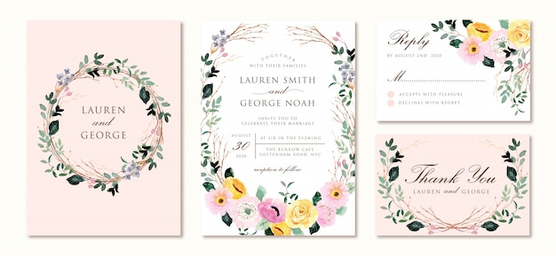 Wedding invitation set with yellow pink floral watercolor
