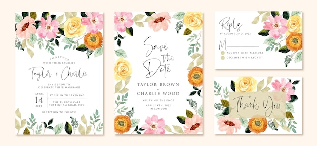 Wedding invitation set with yellow pink flower watercolor