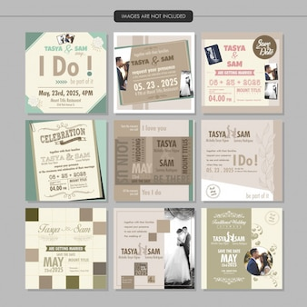 Wedding invitation social media post feed template