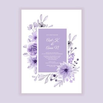Свадебные приглашения мягкие пастельные фиолетовые цветы акварель