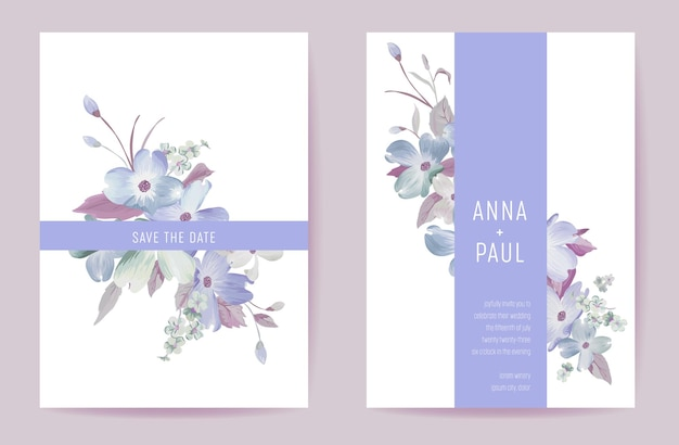 Свадебные приглашения весенние пастельные цветы. цветочная акварель цветущая карта минимальный вектор шаблона. ботанический современный плакат, модный дизайн, роскошный фон иллюстрации