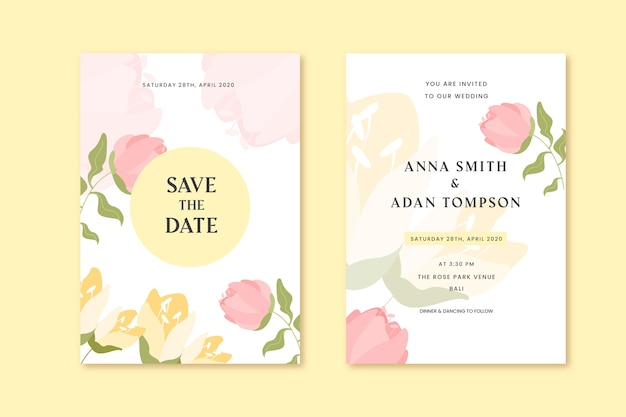 Wedding invitation spring rose flowers