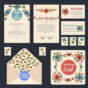 Wedding invitation stationary set