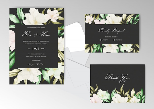 Wedding invitation stationery with watercolor floral and leaves
