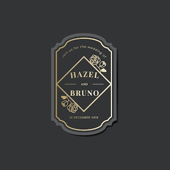 Wedding invitation sticker label on black vector