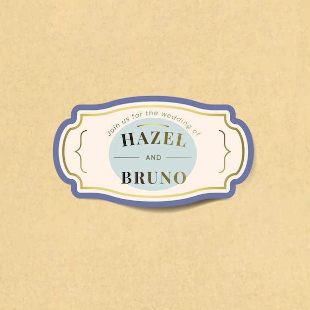 Wedding invitation sticker label vector