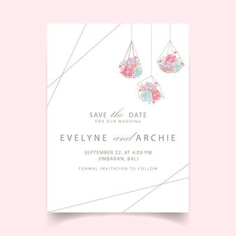 Wedding invitation succulents geometric terrarium