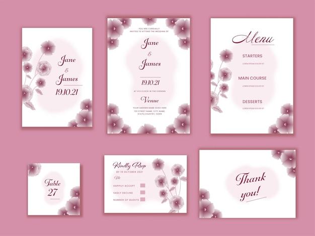 ピンクの背景に花で飾られた結婚式の招待状スイート。