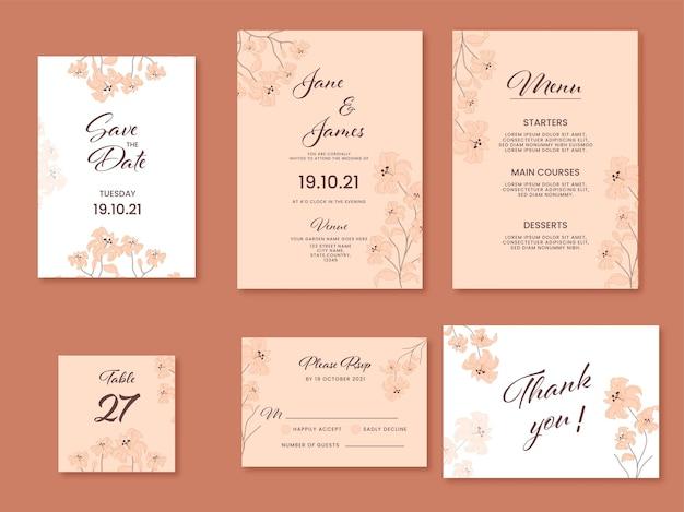 白と桃色のユリの花で飾られた結婚式の招待状スイート。