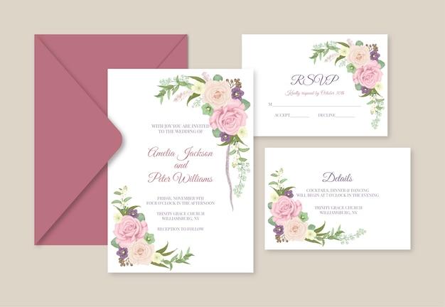 Wedding invitation suite. invite, rsvp and details card