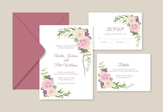 wedding invitation suite. invite, rsvp and details card
