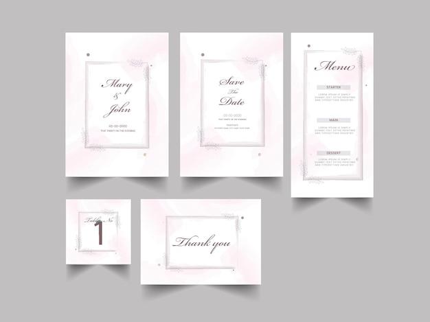 흰색과 분홍색 색상의 청첩장 스위트 템플릿 레이아웃.