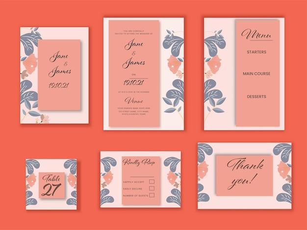 オレンジ色の背景に結婚式の招待状スイートテンプレートのレイアウト。