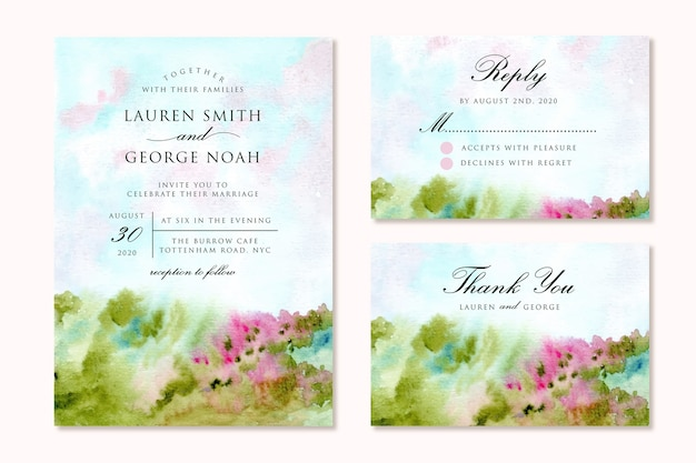 Wedding invitation suite with abstract flower meadow landscape watercolor