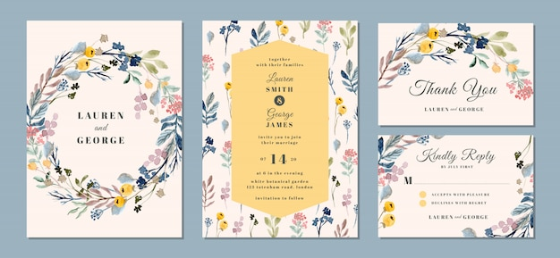 Wedding invitation suite with beautiful floral background watercolor