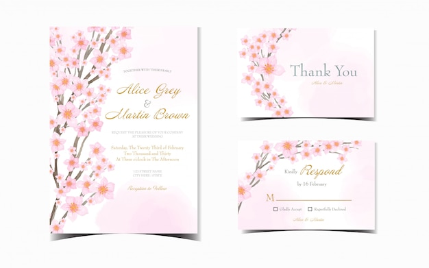 Wedding invitation suite with beautiful japanese cherry blossom
