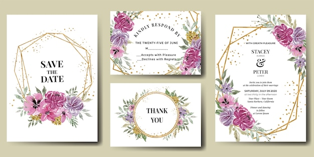 Wedding invitation suite with flower pink and gold frame watercolor