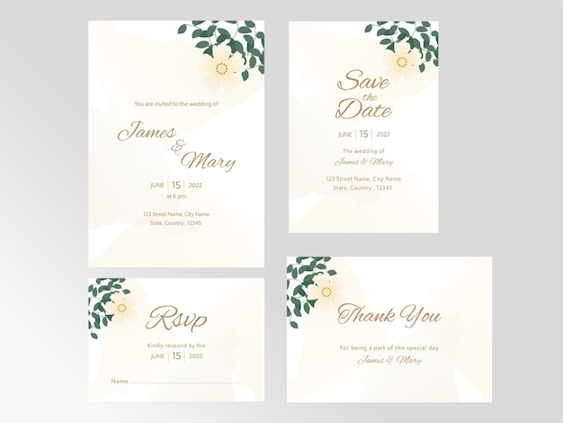 Wedding invitation suite with four options in yellow and white color.