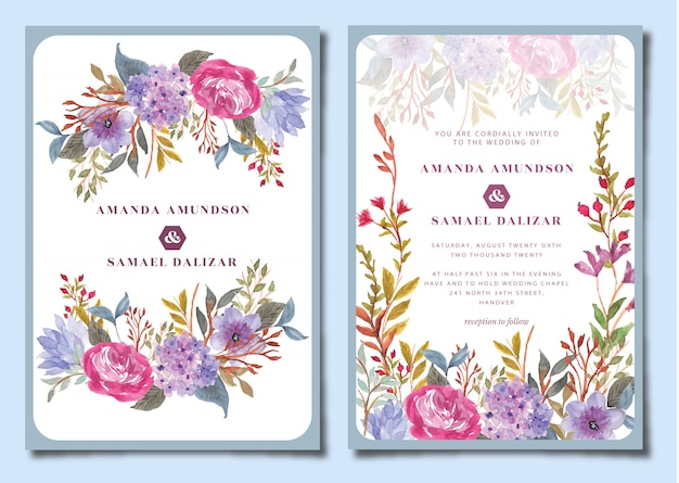 アジサイの花の水彩画と結婚式の招待状スイート