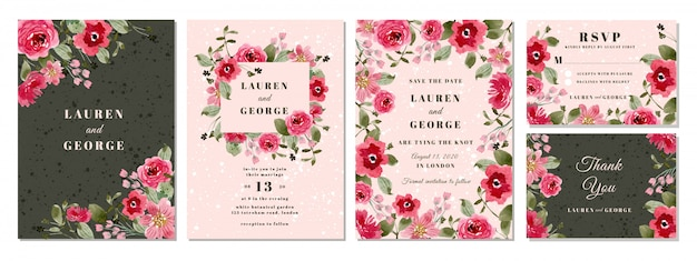Wedding invitation suite with pink flower watercolor background