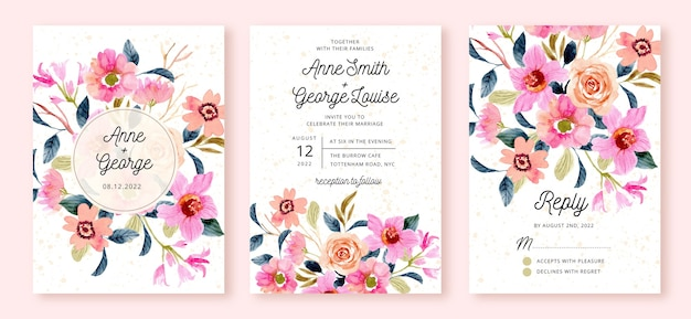 Wedding invitation suite with pink peach flower garden watercolor