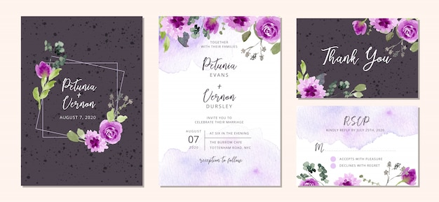 Wedding invitation suite with purple floral and splatter watercolor