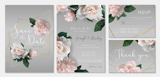 Wedding invitation suite with romantic flowers.