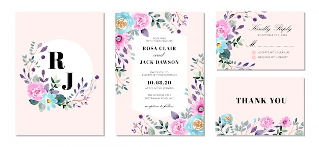 Wedding invitation suite with sweet floral watercolor