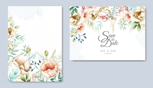 Wedding invitation suite with watercolor floral and leaves