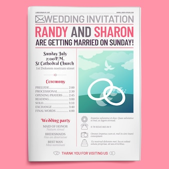 Wedding invitation tabloid, newspaper front page, getting married brochure and old love journal layout