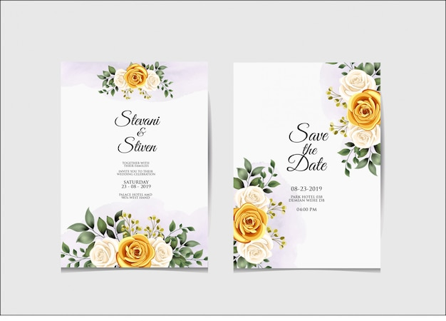 Wedding invitation template beauty and elegant