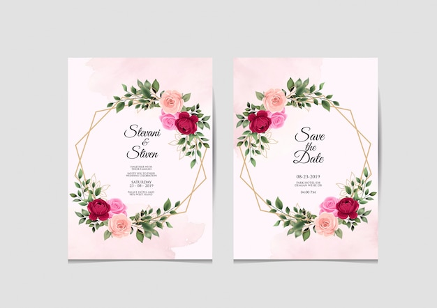 Wedding invitation template beauty and elegant