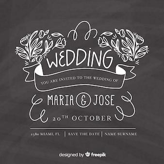 Wedding invitation template on blackboard