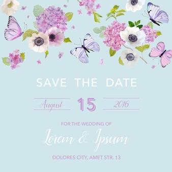 結婚式の招待状のテンプレート。蝶とアジサイの花の植物カード。グリーティングフローラルポストカード