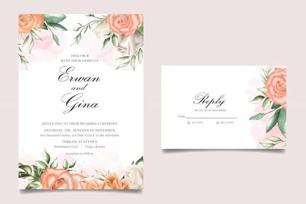 Wedding invitation template card design with watercolor floral and leaves