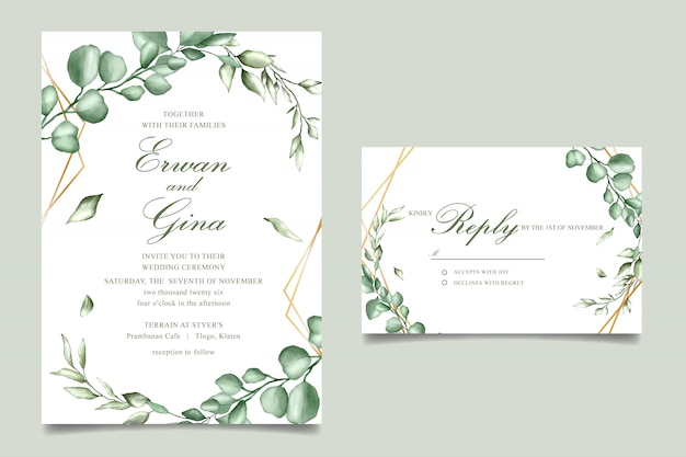 Wedding invitation template card design with watercolor floral