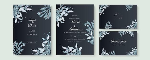 Шаблон свадебного приглашения с голубоватыми акварельными листьями и ветвью на черном фоне