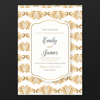 Wedding invitation template chic damask