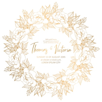 Wedding invitation template in circle frame with golden decorative elements