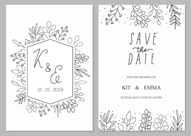 Wedding invitation template concept floral save the date card design