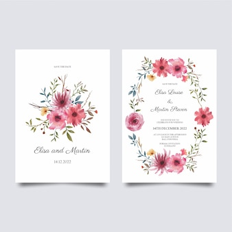 結婚式の招待状のテンプレート、装飾された水彩画の花