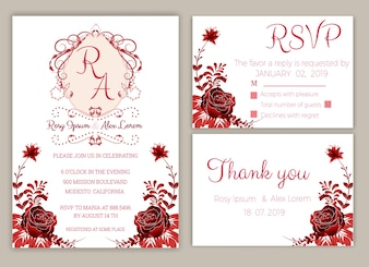 Wedding invitation template design with roses and leaf.
