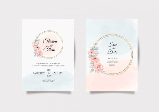 結婚式の招待状のテンプレートデザイン