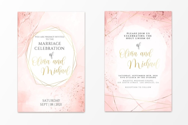 Wedding invitation template on dusty pink liquid watercolor background with golden lines and frame